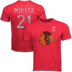 Men s Chicago Blackhawks Adult Stan Mikita  21 Alumni Crewneck S S  Distressed Player T-Shirt 9dd5cfa21