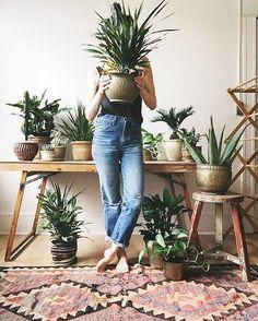 kilim rug and plants
