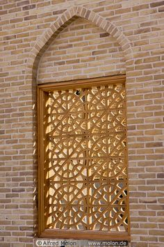 Window with wooden grid picture photo. Central Yazd, Yazd, Iran
