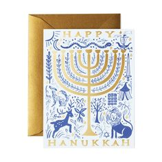 Gold Menorah Hanukkah Card in color Hanukkah Cards, Happy Hanukkah, Holiday Fun, Holiday Cards, Festive, Rifle Paper Co, Menorah, Foil Stamping, Paint Designs