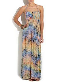 Petrol blue (Blue) Blue Water Colour Print Maxi Dress | 254114647 | New Look