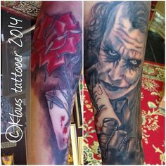 At the usual angle due to the tridimensional nature of the human body...all bloody, sore and brand new... #klaustattooer #rosetattoo #devon #paignton #torbay #southdevon #blackline #london #brixton #brixtontattoos #skull #fun #rose #insanity #brixham #carpediem #tattoos #bloody #card #misterj #inked #joker #clownofcrime #ledger #kawai