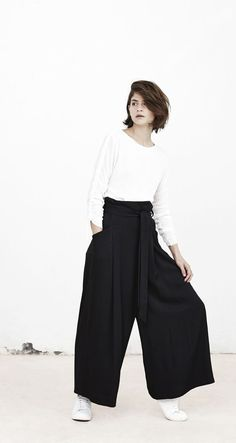 Chic Style - white top & black palazzo pants // Mango Spring 2015