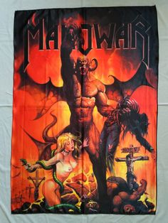 MANOWAR - Hell on earth V FLAG (cloth poster) Size: 78 cm x 116 cm x 45 ) Extremely high quality Flag. Metal Flag, Rock Y Metal, Black Metal, Hell On Wheels, Extreme Metal, Kinds Of Fabric, Power Metal, Tour Posters, Heavy Metal Bands