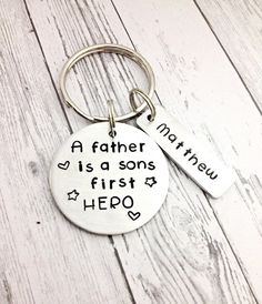 fathers day gift A father is a sons first hero by MommysMetalz