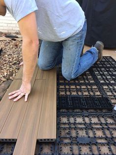 Here's an easy way to lay deck flooring on your cement slab patio in just one day. It dresses up an otherwise drab patio, a . - CLICK PIN for Lots of Patio Ideas, Patio Furniture and other Perfect Patio Inspiration. Concrete Patios, Deck Over Concrete, Concrete Porch, Cement Patio, Concrete Slab, Patio Slabs, Patio Stone, Gravel Patio, Poured Concrete