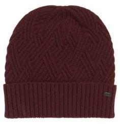 a8f5f408441 BOSS GREEN Hugo Boss Beanie Cableknit Wool Cable Knit Beanie One Size Red Knit  Beanie