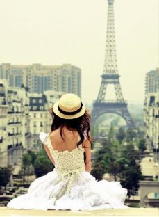 This is how I've always envisioned myself! Dressed in a beautiful gown overlooking Paris!