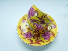 Royal Worcester Tea Cup Saucer Gold Rim Floral Flowers Yellow Burgundy Gold Wedding Anniversary Birthday Collector Christmas Gift 1885 by Passion4Europe on Etsy