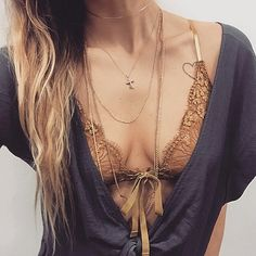 Delicate gold deets 'n teets by @pursenboots in the Honeysuckle Bralette. #ForLoveandLemons #downtoyourSKIVVIES