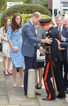 Catherine, Duchess of Cambridge looks on as Prince William, Duke of Cambridge helps up Jonathan Douglas-Hughes, vice Vice Lord-Lieutenant . Kate Middleton Prince William, Prince William And Catherine, William Kate, Princess Charlotte, Princess Kate, Duke And Duchess, Duchess Of Cambridge, Duchess Kate, Princess Pictures