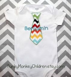 Monogrammed Chevron Tie Onesie for Baby Boy by FunkyMonkeyChildren, $18.00