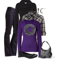 """Purple and Black"" by alicia-querry on Polyvore"