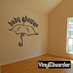 Baby Shower Umbrella Celebrations Vinyl Wall Decal Mural Quotes Words CE020BabyshVIII