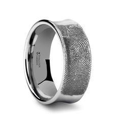 Fingerprint Engraved Concave Tungsten Ring Polished- 4mm - 8mm