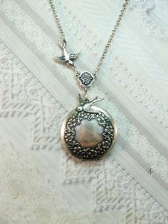 c7d7fc0d7 Items similar to Silver Locket Necklace - Silver Sparrow Wreath Locket -  WEDDING Jewelry by BirdzNbeez - Wedding Birthday Bridesmaids Gift on Etsy