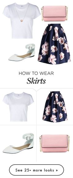 """Idée et inspiration look d'été tendance 2017 Image Description """"white t-shirt and floral skirt summer outfit"""" by women-outfits on Polyvore featuring RE/DONE and Breckelle's"""