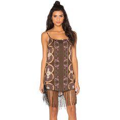 Cleobella Kate Dress Dresses ($179) ❤ liked on Polyvore featuring dresses, cleobella, fringe dress, rayon dress, brown dress and brown fringe dress