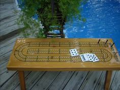 Cribbage Board Coffee Table - Handcrafted Game Table -  Natural Wood with green game lines - Ready to Ship. $260.00, via Etsy.