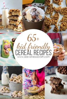 Kid Friendly Cereal Recipes: from Cheerios bars to Cocoa Puffs brownies, this roundup has so many yummy dessert or snack recipes! Cereal Recipes, Baby Food Recipes, Snack Recipes, Dessert Recipes, Cooking Recipes, Cooking Ideas, Dinner Recipes, Sweet Desserts, Delicious Desserts