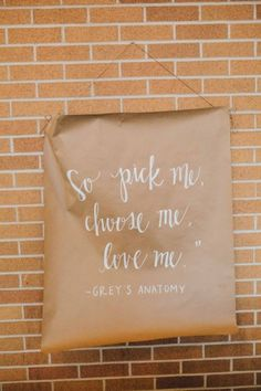 """So pick me, choose me, love me."" Greys Anatomy wedding quote.  Ctg Photography http://www.confettidaydreams.com/winter-woodsy-wedding-purple-green/"