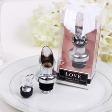 50Pcs Love Wine Stopper Wedding Favors Silver Unique Wedding Favour Gift Box For Guests DHL Free Shipping(China (Mainland))