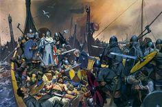 """""""A sea-battle, based on King Olaf Tryggvasson's Saga""""   Angus McBride"""