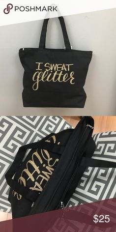 "Hand Lettered ""I Sweat Glitter"" Black Tote Hand Lettered ""I Sweat Glitter"" Black Tote Bags Totes"