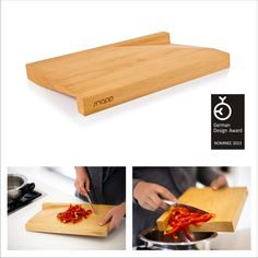 'slice' cutting board - A product that is characteristically defined by its purpose yet visually invites attention in any kitchen environment.  The removal of two mirrored, wedge shapes from either surface of the cutting board enhances the functionality of effortless lifting as well as controlled funneling of foodstuff in one movement. This not only improves the practicality of the product but gives it a sense of ornament as well. Design Awards, Butcher Block Cutting Board, Product Design, Invites, Wood Projects, Wedge, Purpose, Ornament, Environment