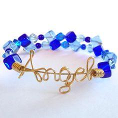 ANGEL Wire Bracelet  Memory Wire  Wire Writing  Wire by wiremajigs, $15.00