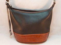 Bucket Purse Bag by Brighton Genevieve Style Black Leather and Croc Trim 022005 #Brighton #ShoulderBag