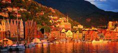 Sunset over Bryggen, the Hanseatic wharf, and quayside in Bergen, Norway - Photo: Bergen Tourist Board/Willy Haraldsen