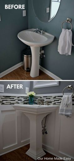 easy room makeover Budget Powder Room Reveal [ORC Week - Our Home Made Easy Powder Room Small, Diy Bathroom, Diy Remodel, Bathroom Makeover, Budget Powder Room, Bathroom Design, Bathroom Decor, Powder Room Remodel, Small Bathroom Remodel