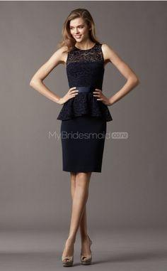 Black Satin , Lace Sheath Jewel Knee-length Bridesmaid Dresses(NZBD06771)