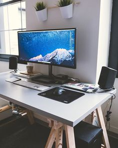 My plants are now Airborne // #desk #workspace #desksetup #isetups #Mac #Macdesks #macsetup #Apple #design #clean #Ikea #loft #furniture #midcenturymodern #eames #dswchair #eameschair #industrial #culture