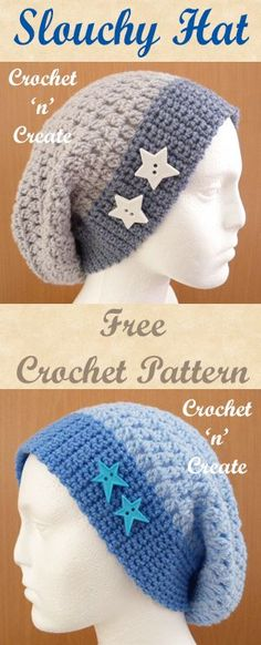 Slouchy hat, free crochet pattern. #crochet