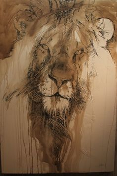 Patriarch - Lion Endangered Species Original Artwork by A E London Animal Paintings, Animal Drawings, African Big Cats, Lion Tigre, Lion Illustration, Ap Studio Art, Lion Art, Endangered Species, Art Portfolio