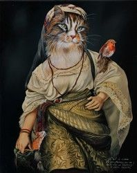 Anthropomorphic cat painting by French painter Sylvia Karle Marquet. Image Chat, Gatos Cats, Cat Character, Cat People, Pet Costumes, Vintage Cat, Beautiful Cats, Cat Life, Crazy Cats