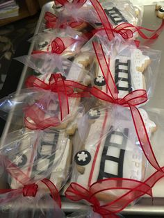 Fire Truck Cookies packaged and ready to go.  They really are great favors
