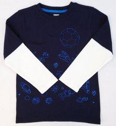 Gymboree Star Brights Soccer Galaxy Double Sleeve Boys Navy Shirt Sz 3 3T NWT #Gymboree #Everyday