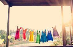 Colourful bridesmaids dresses.