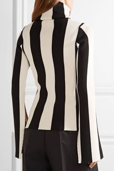 Monse - Striped Ribbed Stretch-knit Turtleneck Sweater - Black - x large