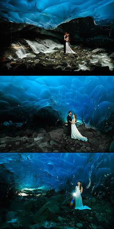 One month after images of a bride and groom standing in front of a wildfire set the web ablaze, here are some unique wedding photos that are as cool as ice. Photographer Chris Beck recently captured stunning images of his friends Torsten and Sarah posing in the Mendenhall Glacier ice cave near Juneau, Alaska after their wedding nuptials.