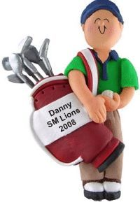 Golf Male with Clubs - Personalized Boy Ornament