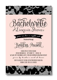 Printable Bachelorette Invitation by PerfectlyPrintables on Etsy, $16.00 #lingerie #lace