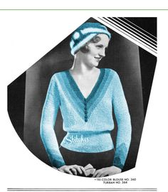 e4f727316917cb 1930s Sweater Blouse V Neck Tri Colored and Turban - 2 Knit Patterns PDF  5360 Crochet
