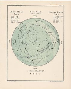 1910 march and/or april celestial blue antique starmap. $32.50, via Etsy.