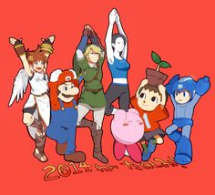 Pit, Mario, Link, Wii Fit Trainer, Kirby, Villager and Mega Man (Super Smash Bros. 3DS / Wii U)
