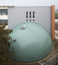 Administrative building in Dijon (France) by S.E.E.M.,   Contractor : Gentil, Copyright : Paul Kozlowski  #Zinc #Coppergreenbilacquered #VMZINC #Dome #France #Architecture