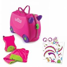 Trunki Trixie Ride Along Kids Suitcase with travel pillow and cosy fleece blanket